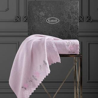 Подарочный набор полотенец для ванной 50х90, 70х140 Karna AMORA хлопковая махра розовый