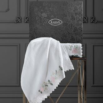 Подарочный набор полотенец для ванной 50х90, 70х140 Karna AMORA хлопковая махра кремовый