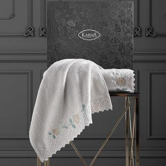 Подарочный набор полотенец для ванной 50х90, 70х140 Karna AMORA хлопковая махра бежевый