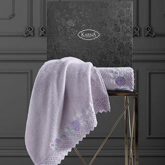 Подарочный набор полотенец для ванной 50х90, 70х140 Karna AMORA хлопковая махра светло-лавандовый