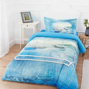 Постельное белье Ozdilek RANFORCE AZORES хлопковый ранфорс голубой 1,5 спальный