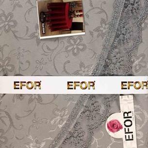 Скатерть овальная Efor KDK жаккард серый 160х220