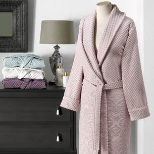 Халат женский Tivolyo Home LISA бамбуко-хлопковая махра грязно-розовый S