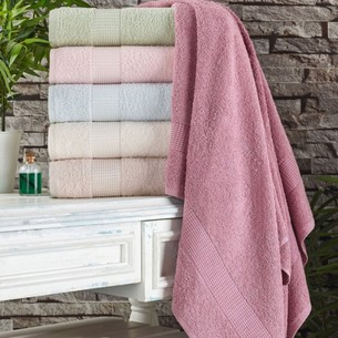 Полотенце для ванной Tivolyo Home PAMUK HAVLU хлопковая махра зелёный 75х150