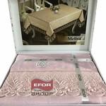 Скатерть прямоугольная Efor MELISA жаккард пудра 160х300, фото, фотография