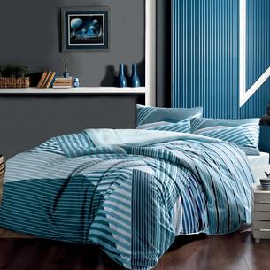 Комплект подросткового постельного белья TAC ATLANTIS хлопковый ранфорс голубой 1,5 спальный