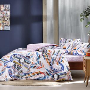 Комплект подросткового постельного белья TAC JOYFUL хлопковый ранфорс пудра 1,5 спальный