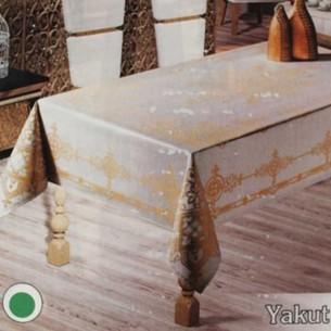 Скатерть прямоугольная Efor YAKUT жаккард золотисто-бежевый 160х220