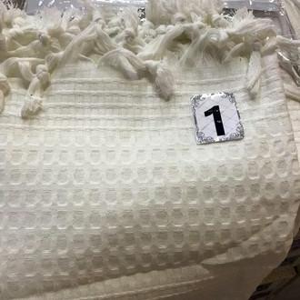 Вафельная простыня-покрывало для укрывания (пике) Saheser хлопок белый