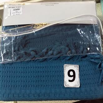 Вафельная простыня-покрывало для укрывания (пике) Saheser хлопок синий
