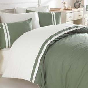 Постельное белье Ecosse RANFORCE ДВУХЦВЕТНОЕ хлопковый ранфорс зелёный, кремовый евро