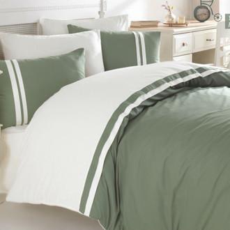 Постельное белье Ecosse RANFORCE ДВУХЦВЕТНОЕ хлопковый ранфорс зелёный, кремовый