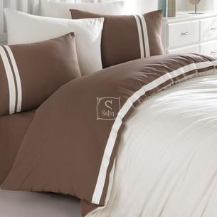 Постельное белье Ecosse RANFORCE ДВУХЦВЕТНОЕ хлопковый ранфорс тёмно-коричневый, кремовый евро