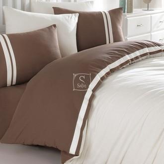 Постельное белье Ecosse RANFORCE ДВУХЦВЕТНОЕ хлопковый ранфорс тёмно-коричневый, кремовый
