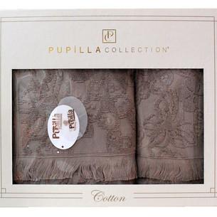 Набор полотенец для ванной в подарочной упаковке 2 пр. Pupilla MAYA хлопковая махра тёмно-кофейный