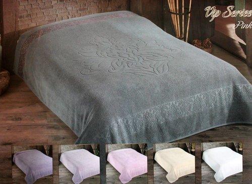 Махровая простынь для укрывания Gulcan PINK хлопок серый 200х220, фото, фотография