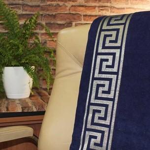 Махровая простынь для укрывания Gulcan GREEK хлопок тёмно-синий 160х220