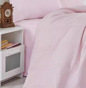 Вафельная простыня-покрывало для укрывания (пике) Saheser хлопок розовый 220х240