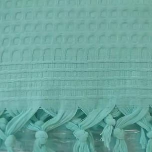 Вафельная простыня-покрывало для укрывания (пике) Saheser хлопок бирюзовый 180х240