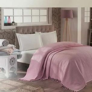 Вафельная простыня-покрывало для укрывания (пике) Saheser хлопок тёмно-розовый 180х240
