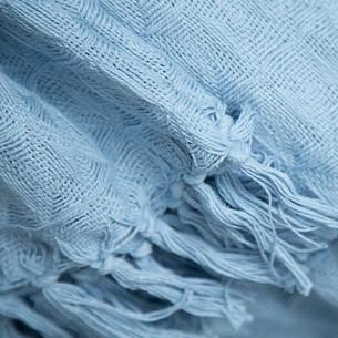 Вафельная простыня-покрывало для укрывания (пике) Saheser хлопок светло-голубой 220х240