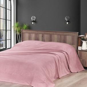 Махровая простынь-покрывало для укрывания Karna MELEN хлопок грязно-розовый 160х220