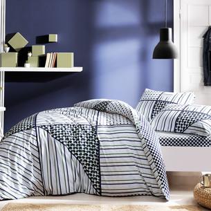 Комплект подросткового постельного белья TAC ZONE хлопковый ранфорс серый, зелёный евро