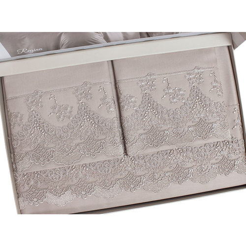 Постельное белье Tivolyo Home REGINA хлопковый сатин делюкс коричневый семейный, фото, фотография