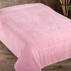 Махровая простынь для укрывания Gulcan YAPRAK хлопок розовый 200х220