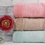 Набор полотенец для ванной 6 шт. Cestepe VIP COTTON ROSA GUL хлопковая махра 90х150, фото, фотография