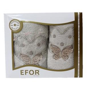 Подарочный набор полотенец для ванной 50х90, 70х140 Efor ANGEL хлопковая махра бежевый