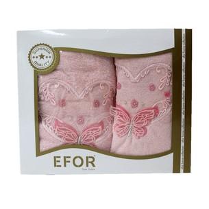 Подарочный набор полотенец для ванной 50х90, 70х140 Efor ANGEL хлопковая махра розовый