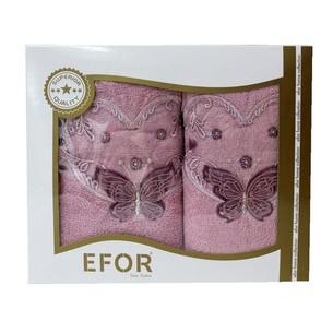 Подарочный набор полотенец для ванной 50х90, 70х140 Efor ANGEL хлопковая махра сухая роза