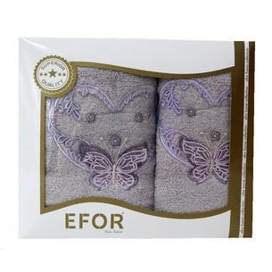 Подарочный набор полотенец для ванной 50х90, 70х140 Efor ANGEL хлопковая махра фиолетовый