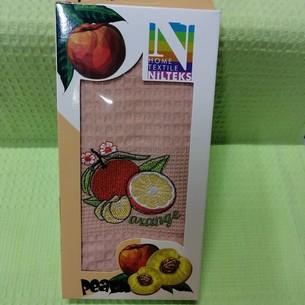 Кухонное полотенце в подарочной упаковке Nilteks хлопковая вафля апельсин 40х60