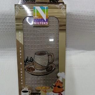 Кухонное полотенце в подарочной упаковке Nilteks хлопковая вафля кофе 40х60