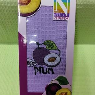 Кухонное полотенце в подарочной упаковке Nilteks хлопковая вафля слива 40х60