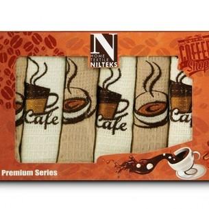 Подарочный набор кухонных полотенец Nilteks хлопковая вафля кофе 40х60(6)