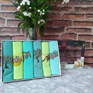 Подарочный набор кухонных полотенец Nilteks хлопковая вафля оливки 40х60(6)