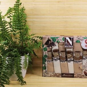 Подарочный набор кухонных полотенец Nilteks SATIN хлопковая вафля кофе 50*70(6)