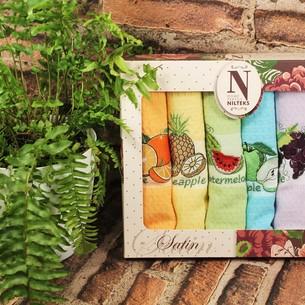 Подарочный набор кухонных полотенец Nilteks SATIN хлопковая вафля фрукты 50*70(6)