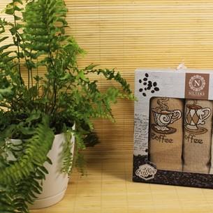 Подарочный набор кухонных полотенец Nilteks LUX хлопковая вафля кофе 40*60(3)