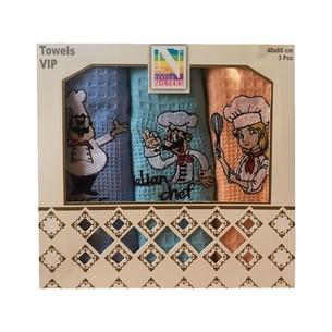 Подарочный набор кухонных полотенец Nilteks LUX хлопковая вафля повар 40*60(3)
