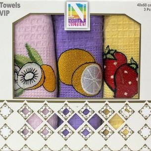 Подарочный набор кухонных полотенец Nilteks LUX хлопковая вафля фрукты 40*60(3)