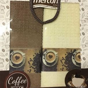 Подарочный набор кухонных полотенец 2 шт. Mercan хлопковая вафля кофе 40х60