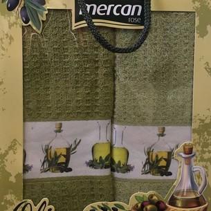 Подарочный набор кухонных полотенец 2 шт. Mercan хлопковая вафля оливки 40х60