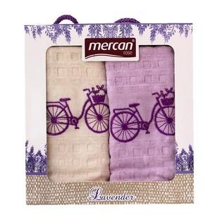 Подарочный набор кухонных полотенец 2 шт. Mercan хлопковая вафля велосипед 45х65