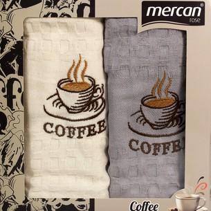 Подарочный набор кухонных полотенец 2 шт. Mercan хлопковая вафля кофе (серый) 45х65
