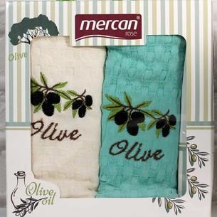 Подарочный набор кухонных полотенец 2 шт. Mercan хлопковая вафля оливки 45х65
