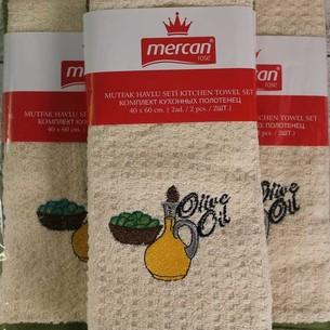 Набор кухонных полотенец 2 шт. Mercan хлопковая вафля оливки 40х60